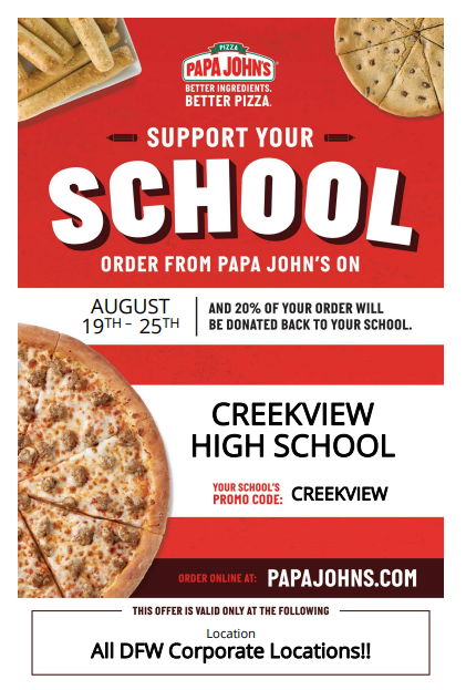 Papa Johns Back To School Promotion